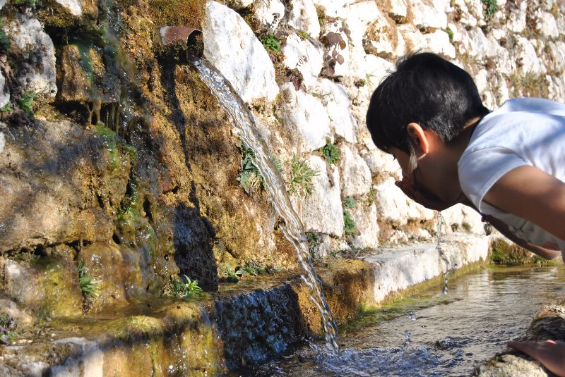Child drinking in a pure nature spring water
